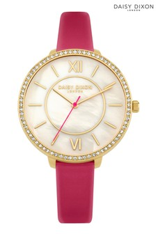 Daisy Dixon Pink Strap Watch With Mother Of Pearl Dial