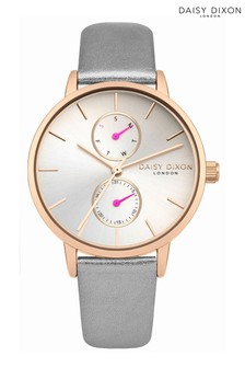 Daisy Dixon Grey Leather Strap Watch With White Multi Dial