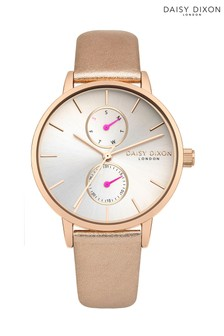 Daisy Dixon Rose Leather Strap Watch With White Multi Dial