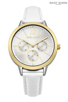 Daisy Dixon White Leather Strap Watch With Silver Multi Dial