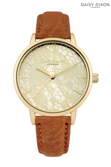 Daisy Dixon Mae Brown Strap Watch With Gold Dial