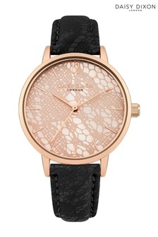 Daisy Dixon Black PU Strap Watch With Rose Gold Dial