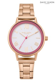 Daisy Dixon Rose Gold Bracelet Watch With White Dial