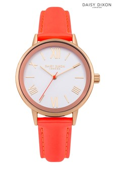 Daisy Dixon Coral Leather Strap Watch With White Dial