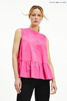 Tommy Hilfiger Pink Cotton Peplum Shirt