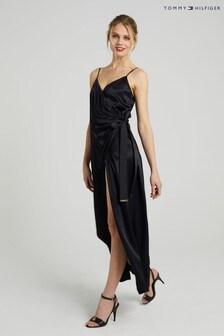 Tommy Hilfiger Black Satin Wrap Dress