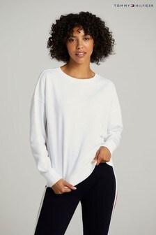 Tommy Hilfiger White Oversized Tonal Sweatshirt