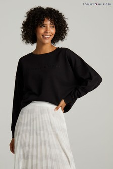 Tommy Hilfiger Black Oversized Tonal Sweatshirt