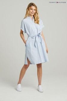 Tommy Hilfiger Blue Stripe Midi Shirt Dress