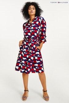 Tommy Hilfiger Red Viscose Midi Shirt Dress