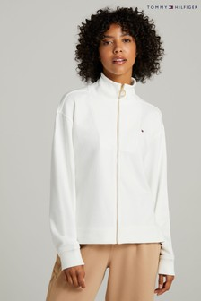 Tommy Hilfiger Natural Relaxed Zip Through Sweatshirt