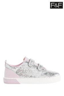 F&F Silver Glitter Twin Strap Shoes