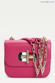 Tommy Hilfiger Pink Turnlock Mini Cross-Over Bag