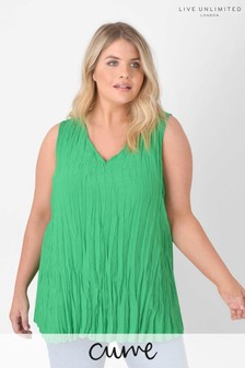 Live Unlimited Curve Green Crushed Swing Vest Top