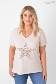 Live Unlimited Curve Organic Cotton Stone Star Stud T-Shirt