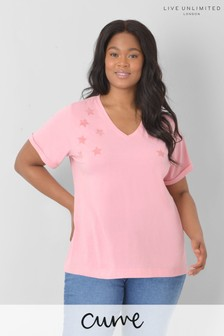Live Unlimited Curve Pink Organic Cotton Star T-Shirt