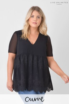 Live Unlimited Curve Black Embroidered Chiffon Top