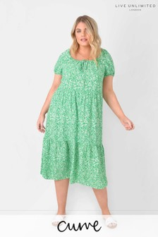 Live Unlimited Curve Green Ditsy Sustainable Viscose Dress