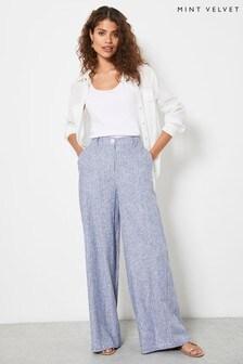 Mint Velvet Blue Striped Wide Leg Trousers