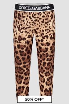 Dolce & Gabbana Kids Girls Leopard Print Trousers