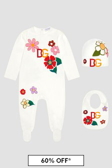 Dolce & Gabbana Kids Baby Girls White Sleepsuit