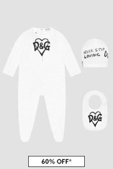 Dolce & Gabbana Kids Baby Unisex White Sleepsuit Set