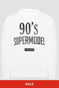 Dolce & Gabbana Kids Girls White Sweat Top