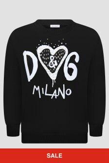Dolce & Gabbana Kids Girls Black Sweat Top