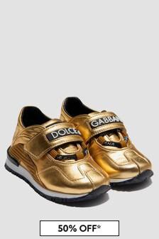 Dolce & Gabbana Kids Baby Girls Gold Trainers