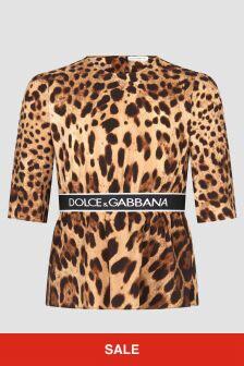 Dolce & Gabbana Kids Girls Leopard Print Top