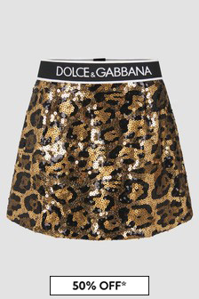 Dolce & Gabbana Kids Girls Animal Print Skirt