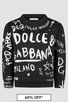 Dolce & Gabbana Kids Boys Black Sweat Top