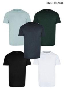 River Island Khaki Slim T-Shirts 5 Pack