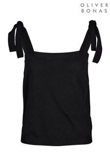 Oliver Bonas Tie Strap Black Knitted Top