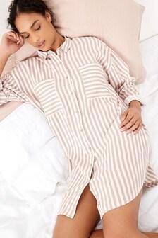 Stripe Linen Rich Night Shirt