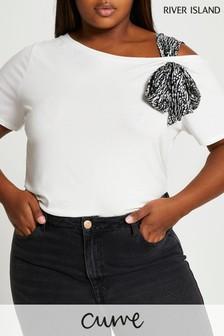 River Island Plus White Tie Shoulder T-Shirt