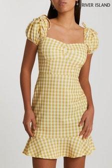 River Island Yellow Gingham Pep Hem Dress