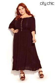 City Chic Black Lost Angel Maxi Dress