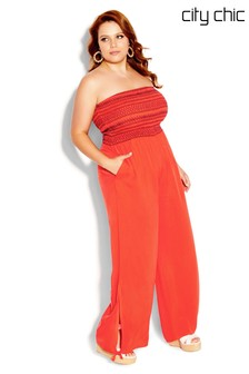 City Chic Orange Stitched Jumpsuit