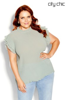 City Chic Green Off Beat Top