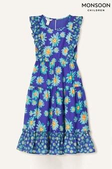 Monsoon Blue Daisy Print Midi Dress