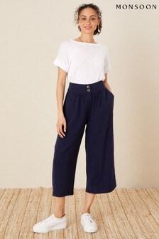 Monsoon Blue Crop Trousers in LENZING™ TENCEL™