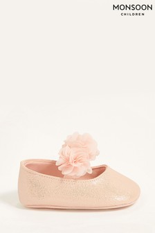 Monsoon Pink Textured Corsage Booties