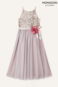Monsoon Pink Truth Sequin Corsage Dress