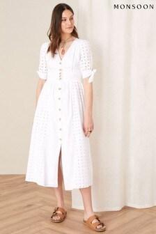 Monsoon White Dolly Schiffli Midi Dress