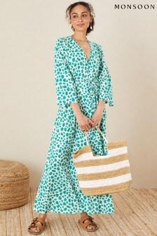 Monsoon Green Pure Cotton Animal Print Dress