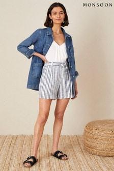 Monsoon Blue Stripe Print Belted Shorts