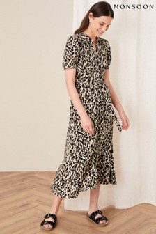 Monsoon Brown Animal Print Shirt Dress