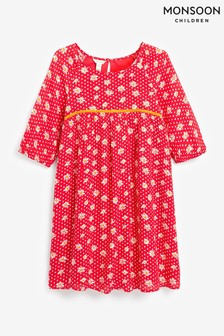 Monsoon Red Floral Spot Dress