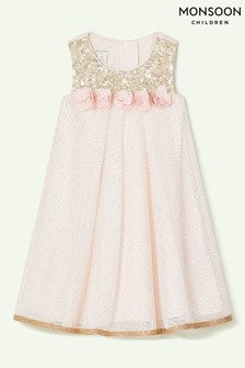 Monsoon Pink Baby Petal Sequin Swing Dress